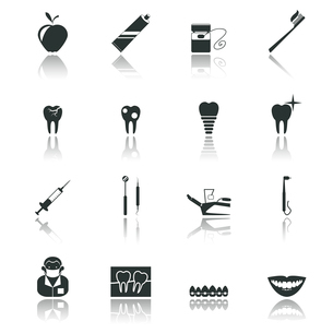 Dental health and caries teeth healthcare instruments dent protection black icons set isolated vectoのイラスト素材 [FYI03070213]