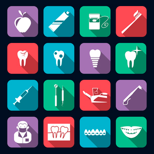 Dental teeth healthcare instruments dent protection flat icons set isolated vector illustrationのイラスト素材 [FYI03070214]