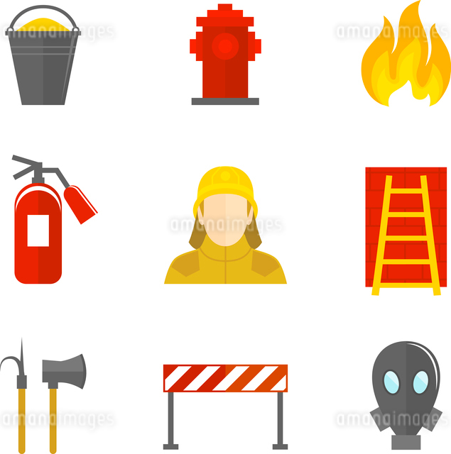Firefighting icons flat set of firefighter emergency ladder water hydrant isolated vector illustratiのイラスト素材 [FYI03070220]