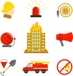 Firefighting icons flat set of burning building fire alarm water hose isolated vector illustration.のイラスト素材 [FYI03070223]