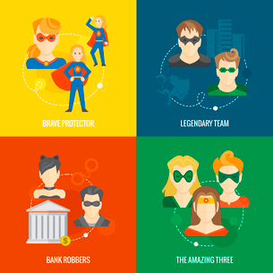 Business concept flat icons set of superhero composition with brave legendary amazing protector teamのイラスト素材 [FYI03070224]