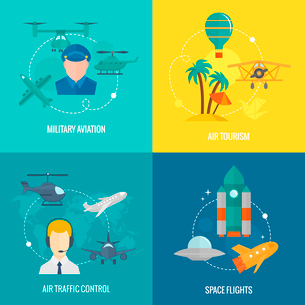 Business concept flat icons set of aircraft military aviation air tourism traffic control and spaceのイラスト素材 [FYI03070225]