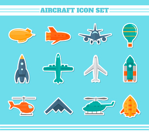 Aircraft helicopter military aviation airplane stickers icons set isolated vector illustrationのイラスト素材 [FYI03070229]