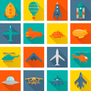 Aircraft helicopter military aviation airplane flat shadowed icons set isolated vector illustrationのイラスト素材 [FYI03070230]