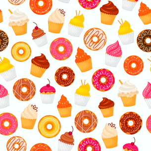 Sweet and tasty food dessert donut and cupcakes seamless pattern vector illustrationのイラスト素材 [FYI03070232]