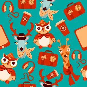 Decorative animal hipsters seamless background of owl deer giraffe vector illustration.のイラスト素材 [FYI03070235]