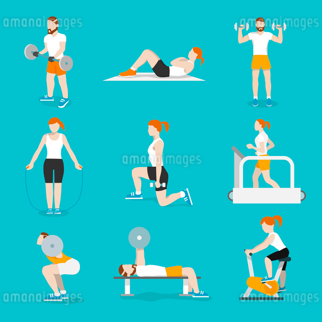 People training exercise bikes and cardio fitness treadmills with bench press icons collection flatのイラスト素材 [FYI03070236]