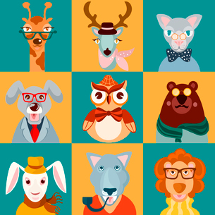 Decorative animal hipsters icons set cat bear owl lion isolated vector illustrationのイラスト素材 [FYI03070238]