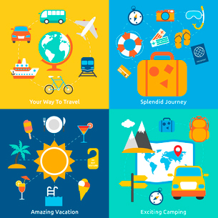 Business concept flat icons set of travel splendid journey amazing vacation and exciting camping infのイラスト素材 [FYI03070239]