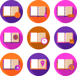 Book literature flat icons set with information and time symbols isolated vector illustrationのイラスト素材 [FYI03070248]