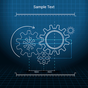Drawn cogwheel gears mechanisms on squared background poster vector illustrationのイラスト素材 [FYI03070254]
