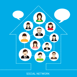 Social network concept with male and female avatars connected in outline house vector illustrationのイラスト素材 [FYI03070259]
