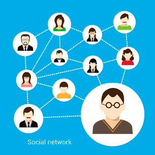 Social network concept with male and female avatars connected vector illustrationのイラスト素材 [FYI03070260]