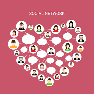 Social network concept with male and female avatars connected in heart shape vector illustrationのイラスト素材 [FYI03070261]