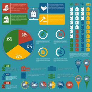 Real estate infographic set of property apartment icons with charts vector illustrationのイラスト素材 [FYI03070263]