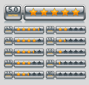 Rating voting icons five stars bars set isolated vector illustrationのイラスト素材 [FYI03070266]