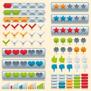 Rating voting icons set of stars check marks hearts isolated vector illustrationのイラスト素材 [FYI03070270]