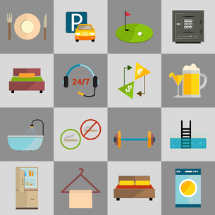 Hotel amenities and room service icons of golf spa massage and bell isolated vector illustration.のイラスト素材 [FYI03070291]