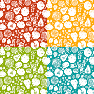 Natural organic organic fruits and berries seamless pattern with pear lime kiwi vector illustrationのイラスト素材 [FYI03070295]