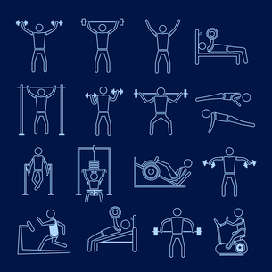 Workout sport and fitness gym training healthy lifestyle icons outline set isolated vector illustratのイラスト素材 [FYI03070297]