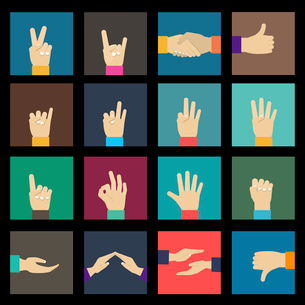 Human hands signs and gestures icons set isolated vector illustrationのイラスト素材 [FYI03070300]