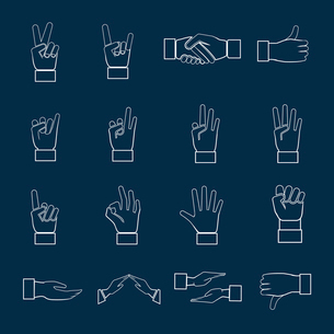 Human hands communication signs signals and gestures icons set outline isolated vector illustrationのイラスト素材 [FYI03070303]