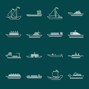 Ship sailing yachts and transportation boats outline silhouette icons set isolated vector illustratiのイラスト素材 [FYI03070306]