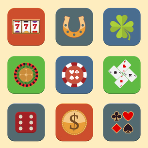 Casino color design elements with gambling poker roulette icons set isolated vector illustrationのイラスト素材 [FYI03070308]
