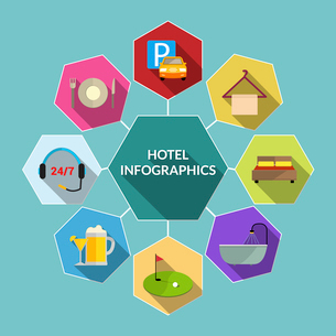 Hotel amenities and room service tourism flat infographic concept vector illustrationのイラスト素材 [FYI03070309]