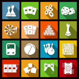 Leisure video sport and gambling casino games icons set flat isolated vector illustrationのイラスト素材 [FYI03070310]