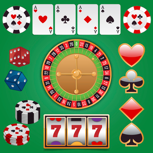 Casino design elements with gambling poker play icons set isolated vector illustrationのイラスト素材 [FYI03070311]