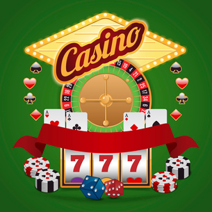 Casino elements composition set of roulette wheel chips jackpot vector illustrationのイラスト素材 [FYI03070312]
