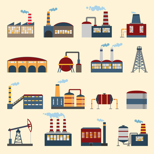 Industrial building factories and plants icons set isolated vector illustration.のイラスト素材 [FYI03070313]