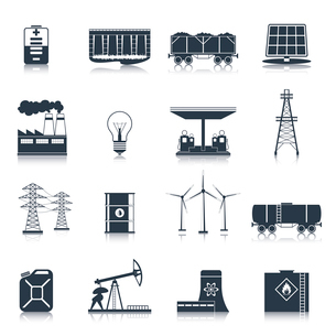 Energy and electric industry icons black set with solar battery factory light bulb isolated vector iのイラスト素材 [FYI03070314]