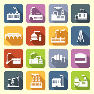Industrial building modern city icons flat set with drilling rig and holding tanks isolated vector iのイラスト素材 [FYI03070315]