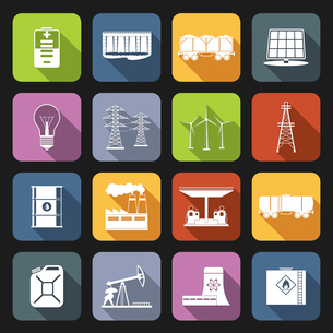 Energy and industrial icons flat set with power line wind mill oil barrel isolated vector illustratiのイラスト素材 [FYI03070316]
