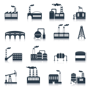 Industrial electricity plants building icons black set with smoking pipes isolated vector illustratiのイラスト素材 [FYI03070317]