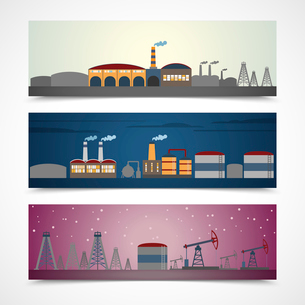Industrial building modern city skyline horizontal banners set isolated vector illustrationのイラスト素材 [FYI03070318]