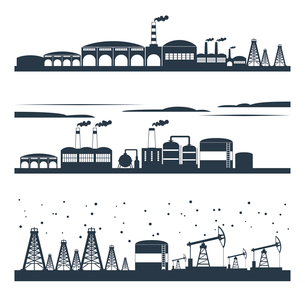 Industrial building modern city skyline black silhouettes horizontal banners set isolated vector illのイラスト素材 [FYI03070319]