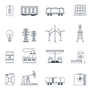 Energy and environment icons outline set with gasoline station nuclear plant jerrycan isolated vectoのイラスト素材 [FYI03070320]
