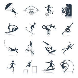 Extreme sports icons black set of outdoor adventure activity isolated vector illustrationのイラスト素材 [FYI03070322]