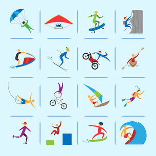 Extreme sports icons of diving climbing sailing people isolated vector illustrationのイラスト素材 [FYI03070327]