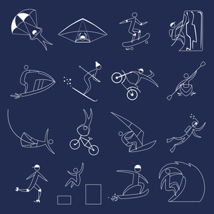 Extreme sports icons outline set of fun leisure holidays isolated vector illustrationのイラスト素材 [FYI03070330]
