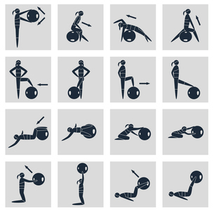Women silhouettes with fitness ball sport equipment icons black set isolated vector illustrationのイラスト素材 [FYI03070342]