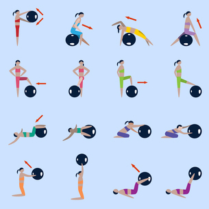 Women silhouettes with fitness ball sport exercises icons set isolated vector illustrationのイラスト素材 [FYI03070343]