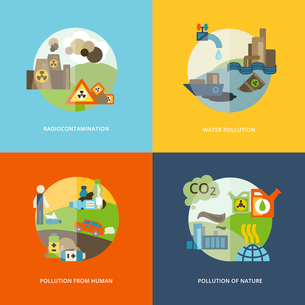 Global effects of environmental thermal and chemical emanating pollution flat icons composition setのイラスト素材 [FYI03070346]