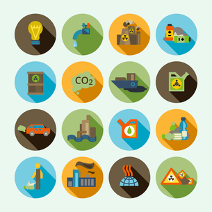 Automobile emission and oil refinery waste thermal diffuse air pollution solid shadow icons set isolのイラスト素材 [FYI03070348]