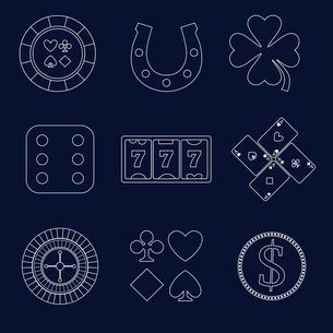 Casino flat design elements with shamrock horseshoe chip icons set isolated vector illustrationのイラスト素材 [FYI03070349]