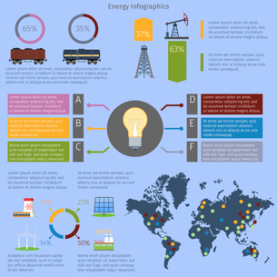 Energy and environment infographics set with charts and world map vector illustrationのイラスト素材 [FYI03070351]