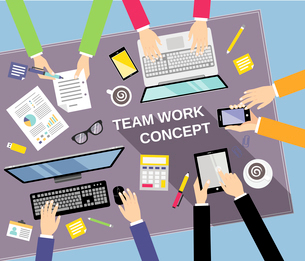 Business team teamwork concept top view people on table vector illustrationのイラスト素材 [FYI03070352]